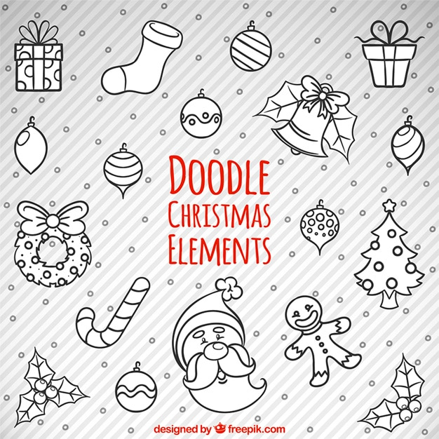 Sketches of christmas items Free Vector