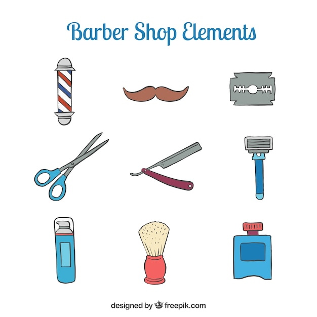 Sketches cute barber shop accesories Free Vector