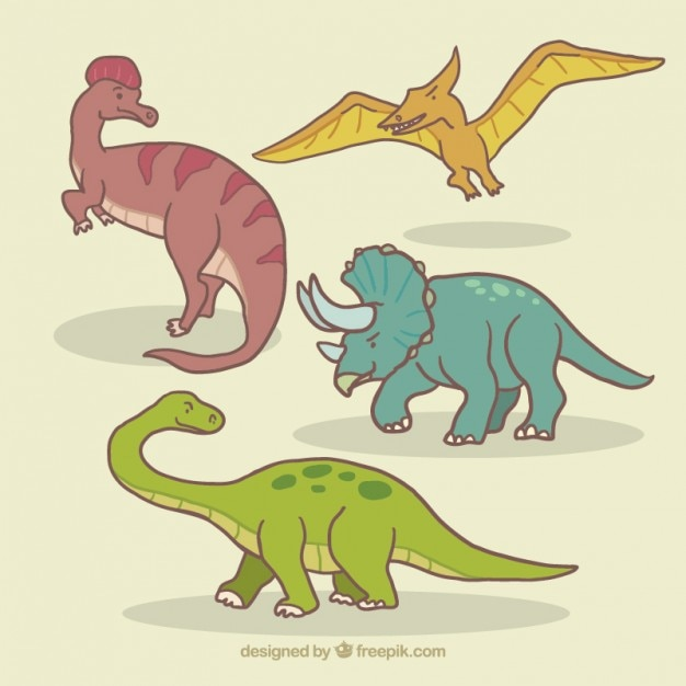 Sketches different dinosaurs