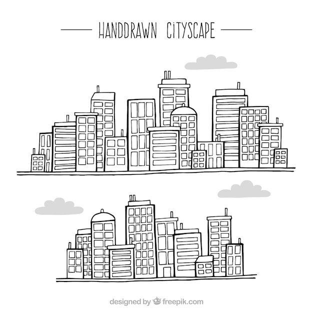 Sketches different modern cities