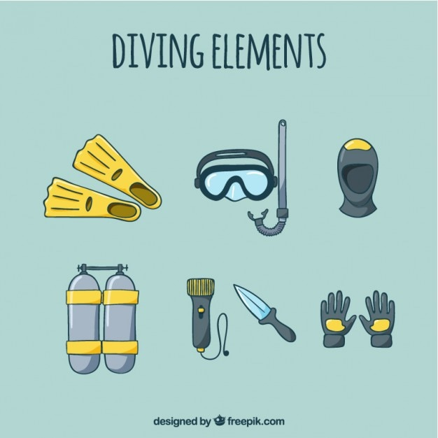 Sketches of diving elements Free Vector