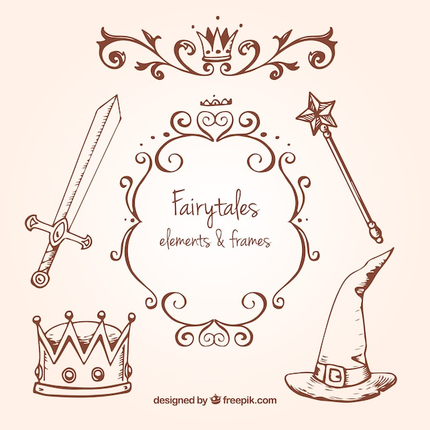 Sketches Fairy Tales Accessories Vector