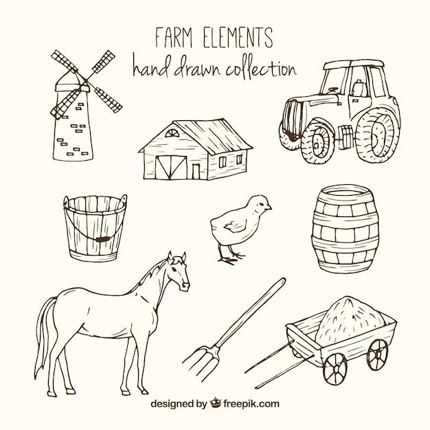 Accessori agricoli e animali sketches Vettore gratuito