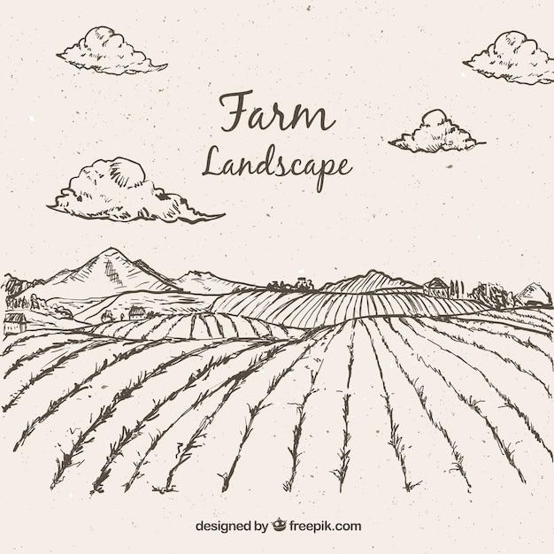 Sketches farming landscape Free Vector