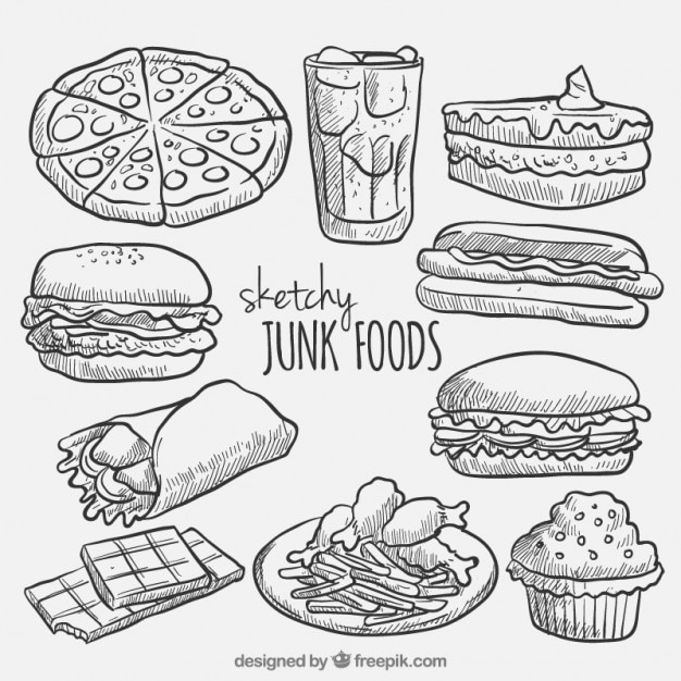 coloring pages food items - sketches fast food collection vector free download