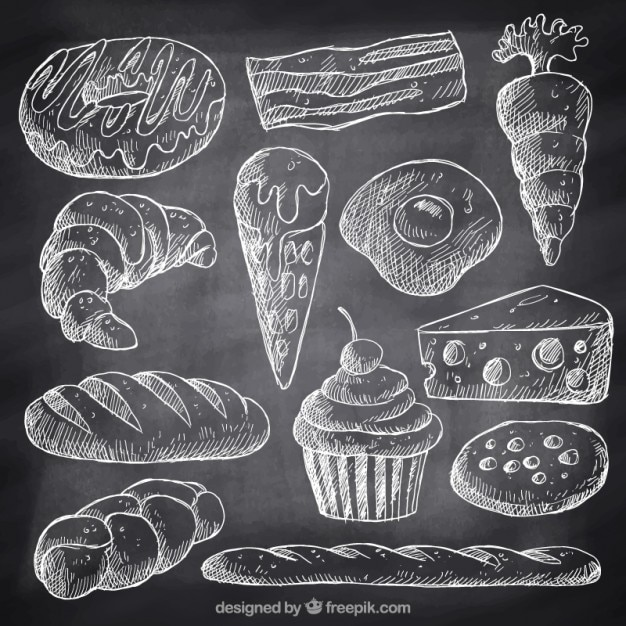 Sketches fast food and desserts with chalk Free Vector
