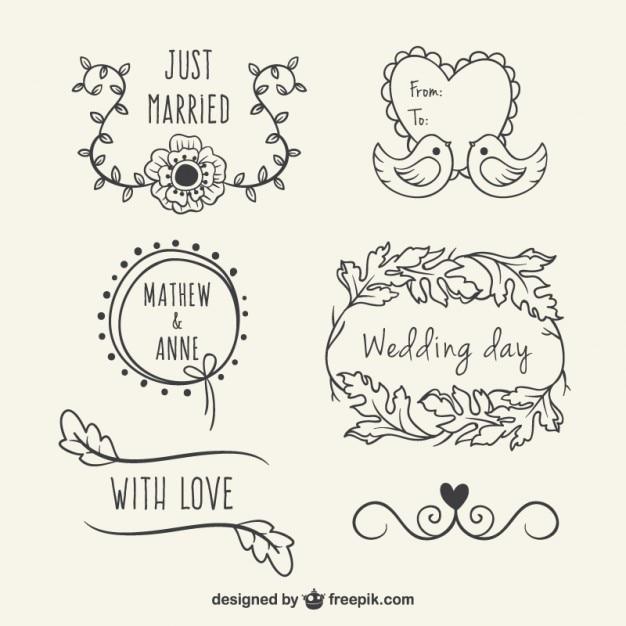 sketches floral wedding elements set vector free download