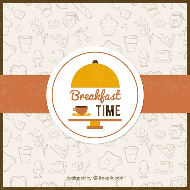Sketches Food For Breakfast Background Vector Free Download