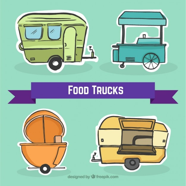 Sketches food trucks stickers set