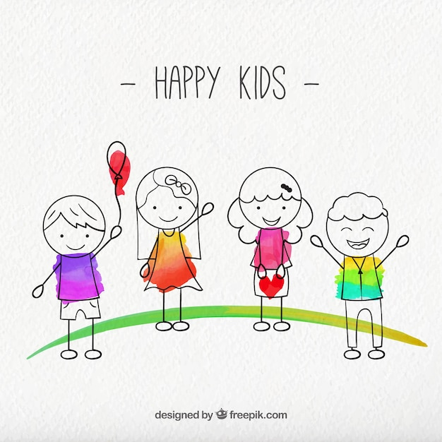 Sketches Happy Kids Pack Vector Free Download