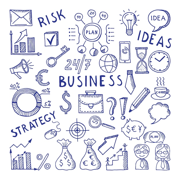 Sketches illustrations at business theme. Premium Vector