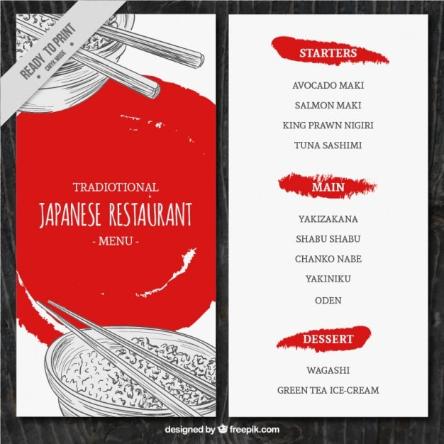 sketches japanese food menu template vector free download