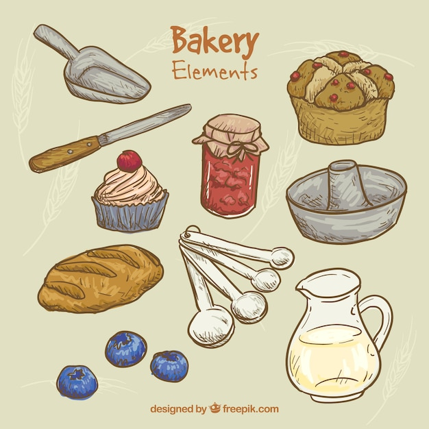 Sketches kitchen tools and bakery products Free Vector