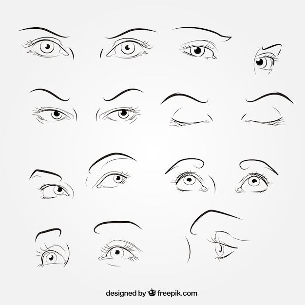 Sketches of looks collection Free Vector