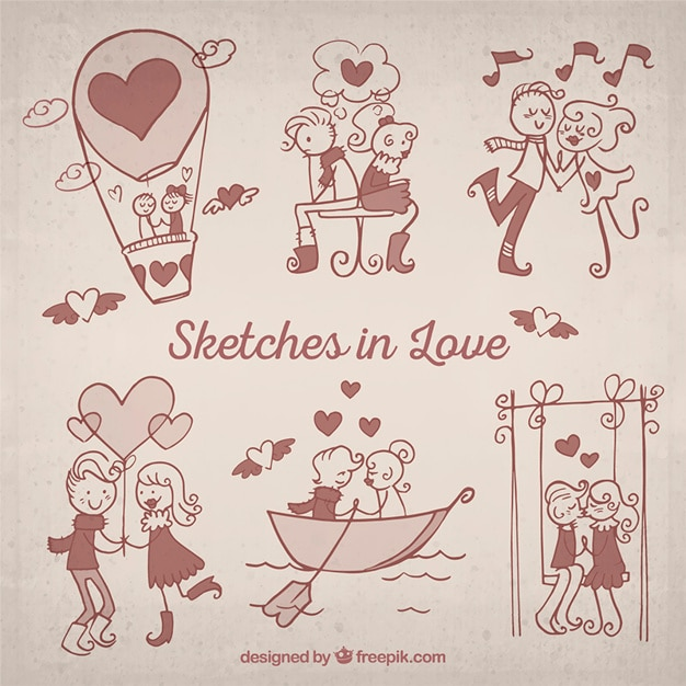 Sketches in love pack Free Vector