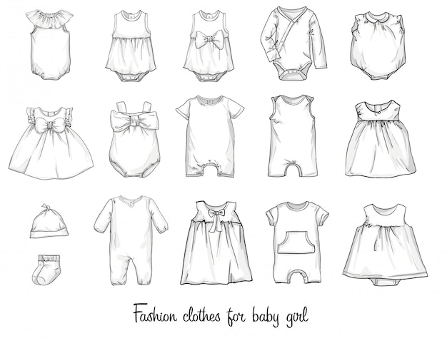Sketches of models of fashionable clothes for babies. vector illustration. Premium Vector