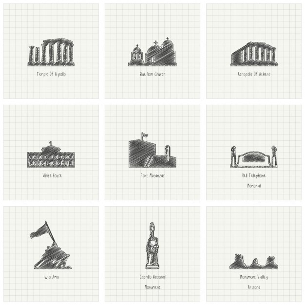 Sketches of monuments Free Vector