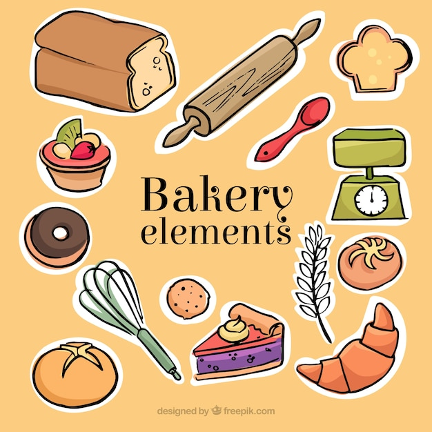 Sketches of bakery and desserts labels