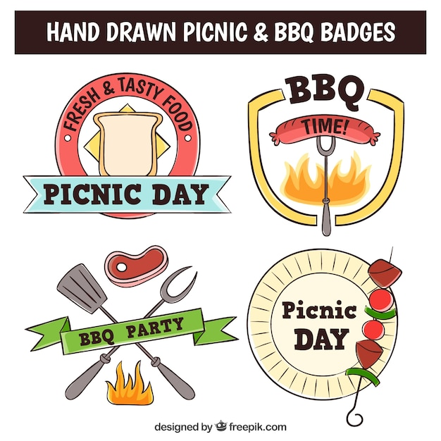 Sketches of bbq and picnic badges with\ delicious food