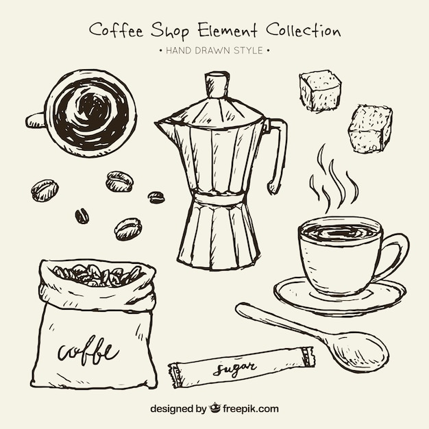 Sketches of coffee maker and elements for\ coffee pack