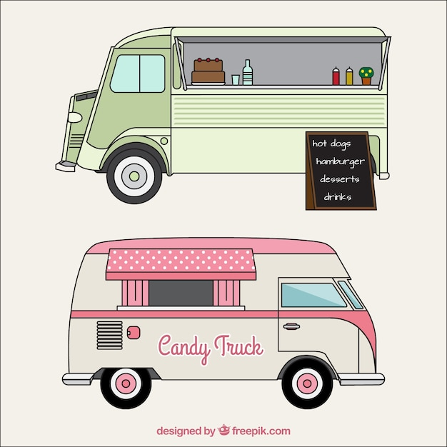 Sketches Of Food Trucks In Vintage Style Vector Free