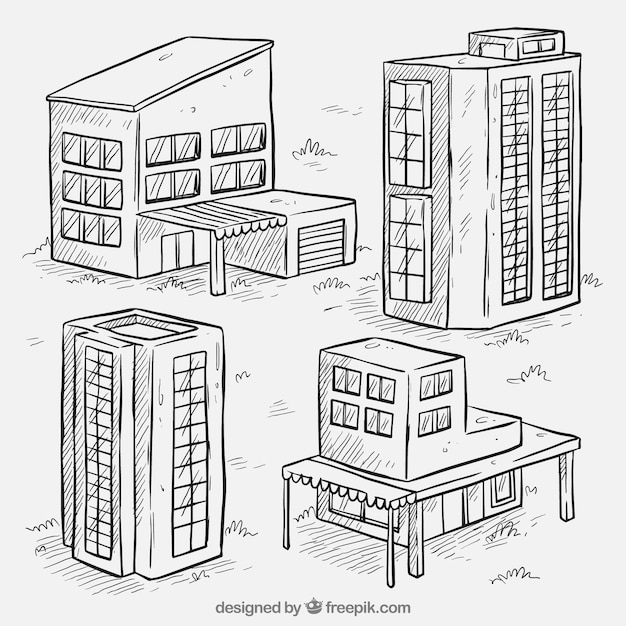 sketches of four buildings set vector free download