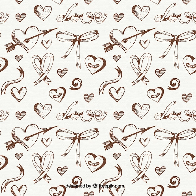 sketches of hearts and bows pattern Free Vector