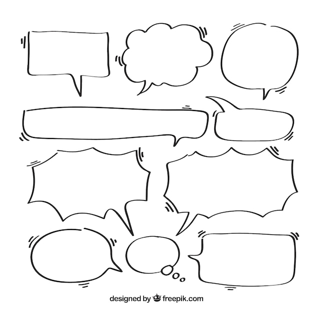 Sketches of speech bubbles set
