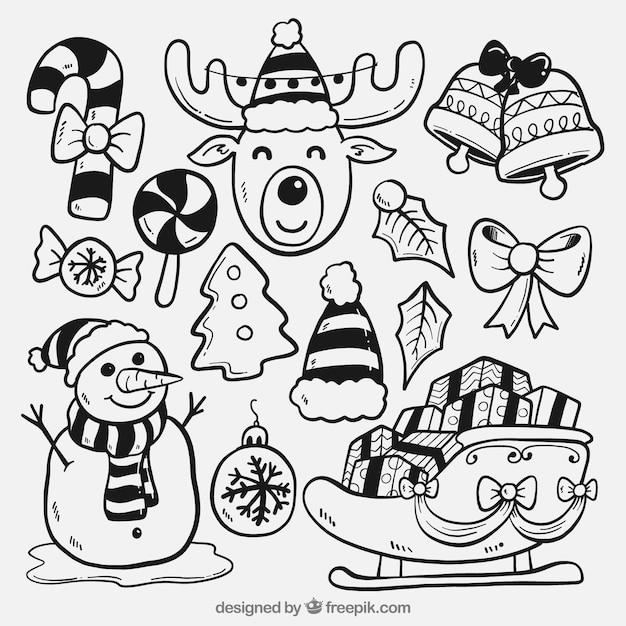 Зарисовки типичных элементов рождество Premium векторы