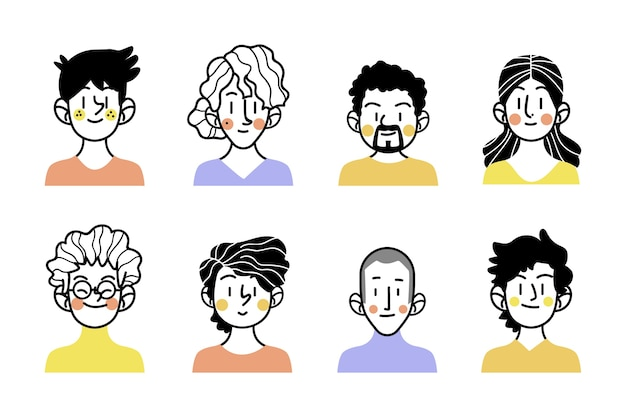 Sketches of people avatars with colourful clothes Free Vector