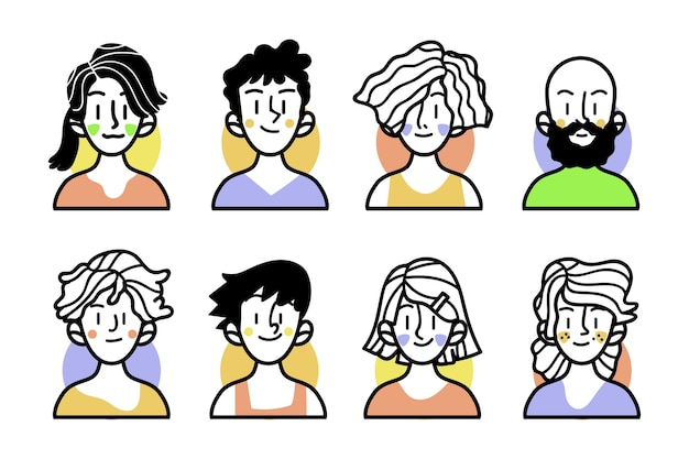 Sketches of people with colourful clothes Free Vector