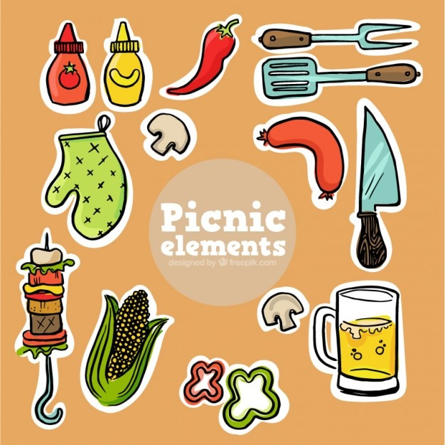 Sketches picnic food labels