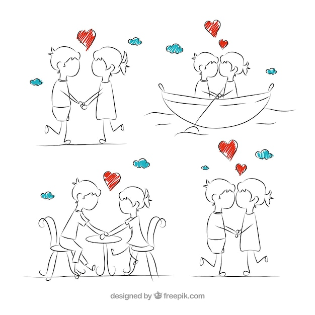Sketches romantic couple in love Vector | Free Download