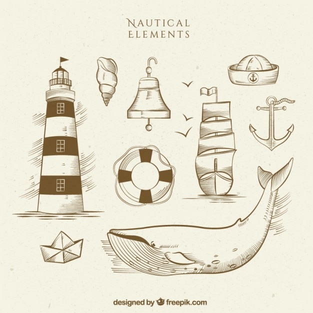 Sketches sailing accessories with a whale Premium Vector