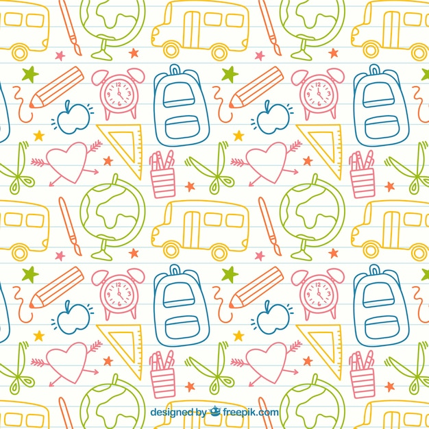 Sketches school elements pattern Free Vector