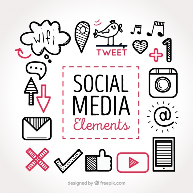 Sketches of social media elements collection Free Vector