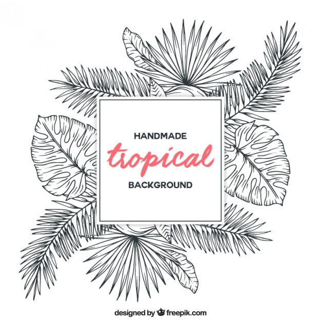 Sketches tropical plants background vector free download for Sketch online free