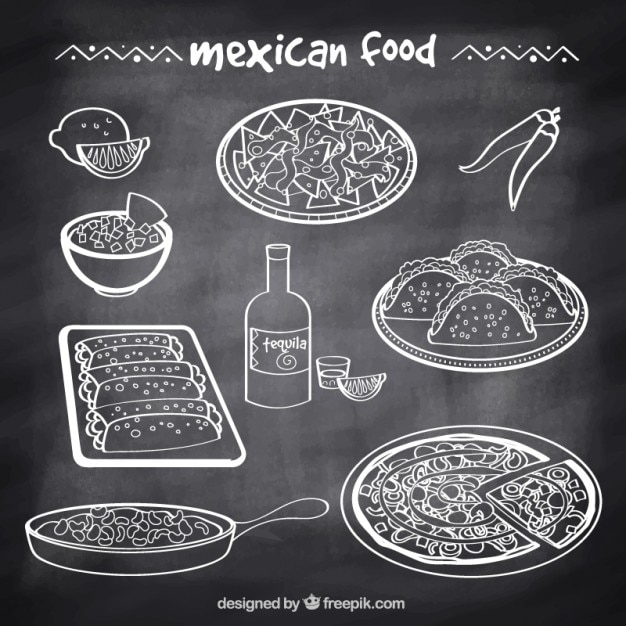 Sketches typical mexican food in blackboard style Free Vector