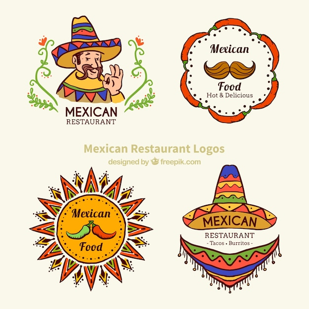 Sketches typical mexican food logotypes Free Vector
