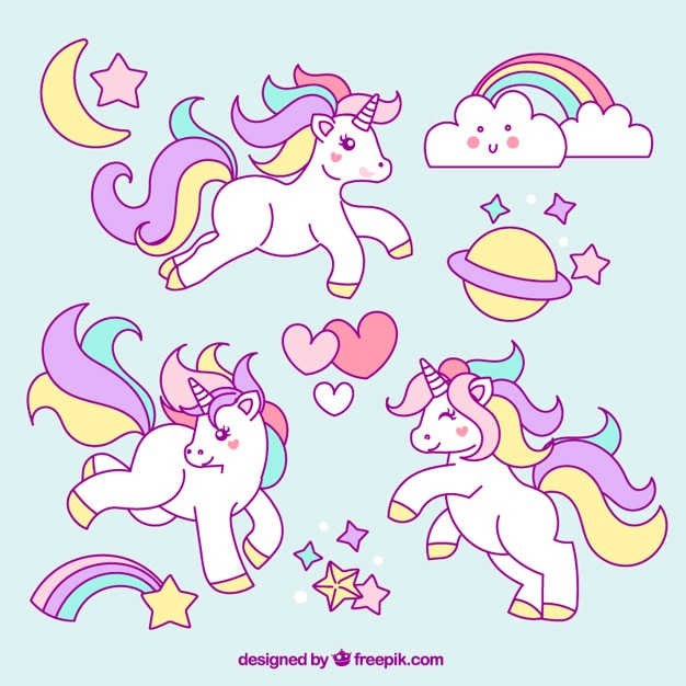 Sketches of unicorn with lovely elements Free Vector
