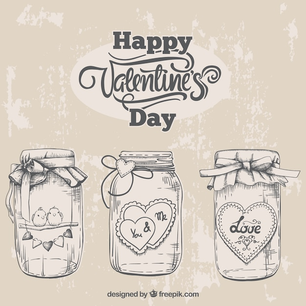 Sketches valentine jars Free Vector