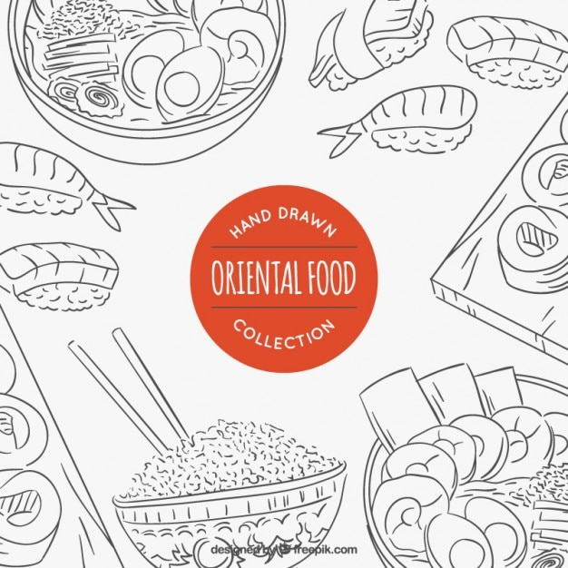 Sketches variety of oriental food Free Vector