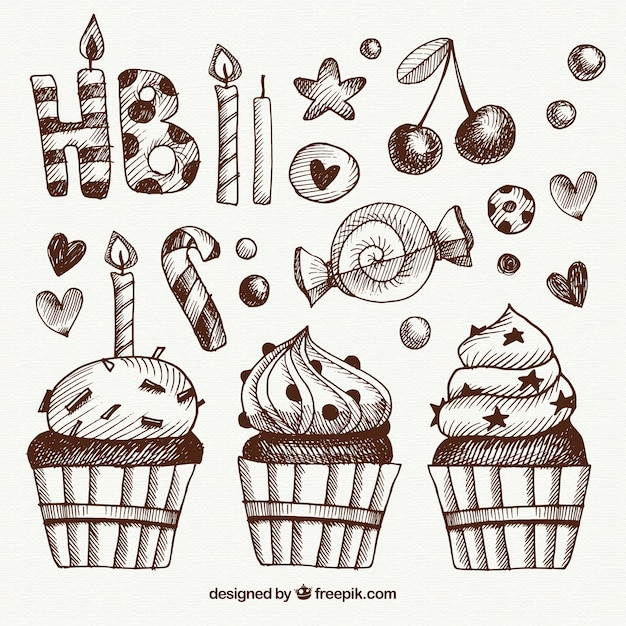 Sketches vintage birthday elements Free Vector