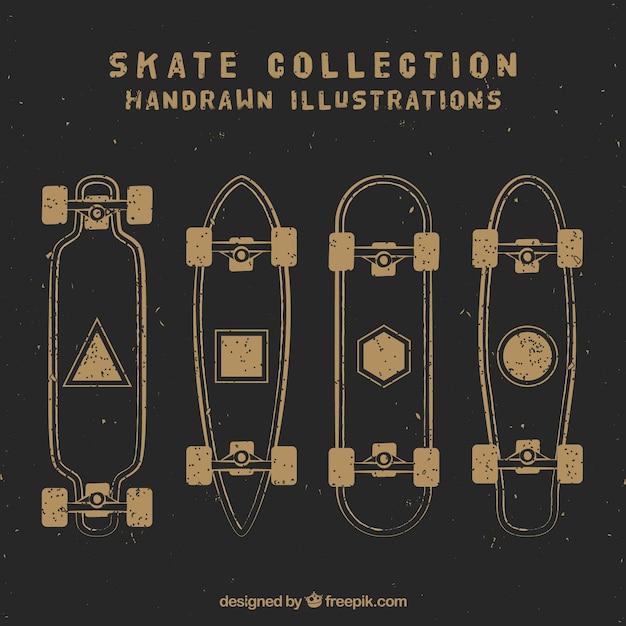 Sketches vintage skateboards set