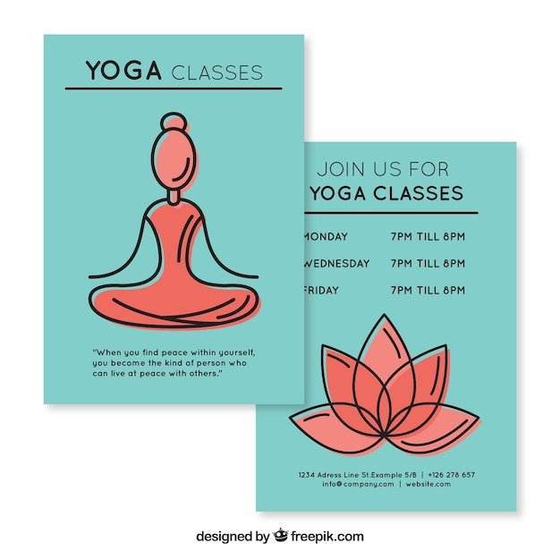 Sketches woman and florwer yoga classes flyer Free Vector