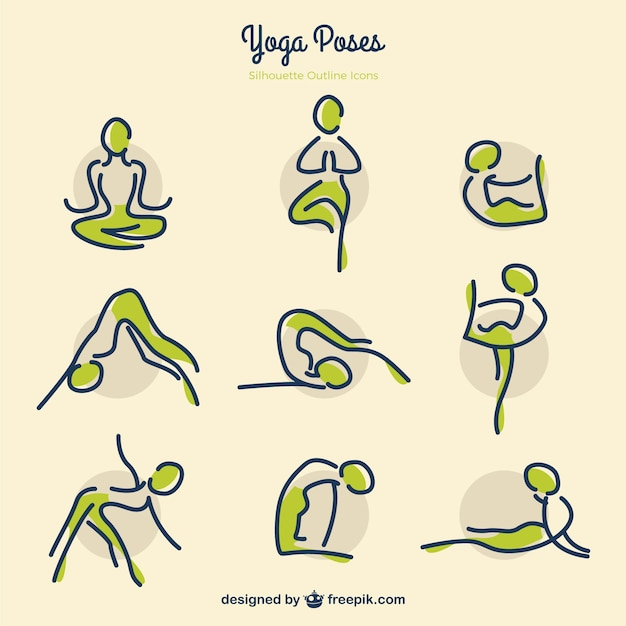 Sketches Yoga Poses With Green Details Free Vector