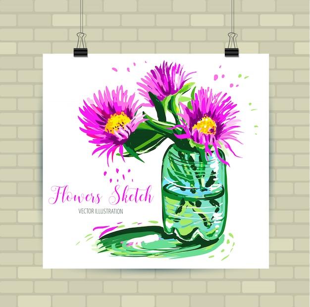 Эскиз иллюстрации в векторном формате. плакат с красивыми цветами. Premium векторы