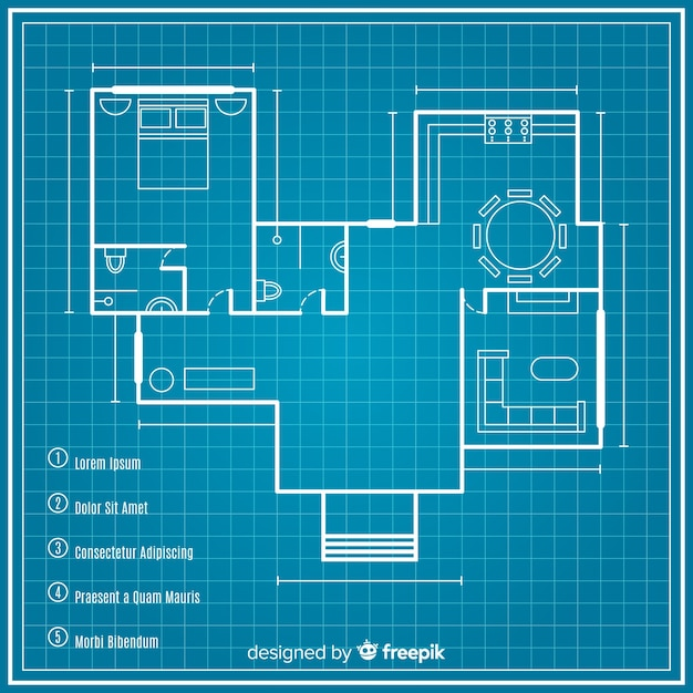 Sketching plan of house blueprint Free Vector