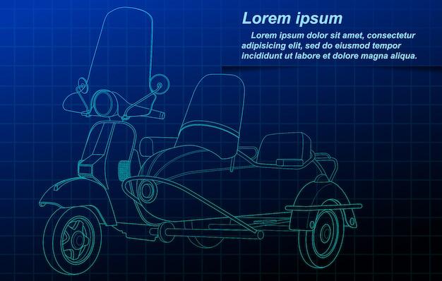 Sketching of vehicle on blueprint background. Premium Vector