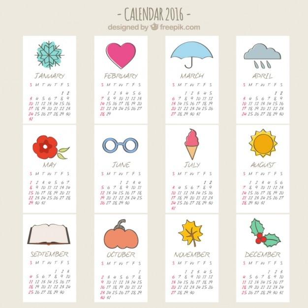 Sketchy 2016 calendar Free Vector